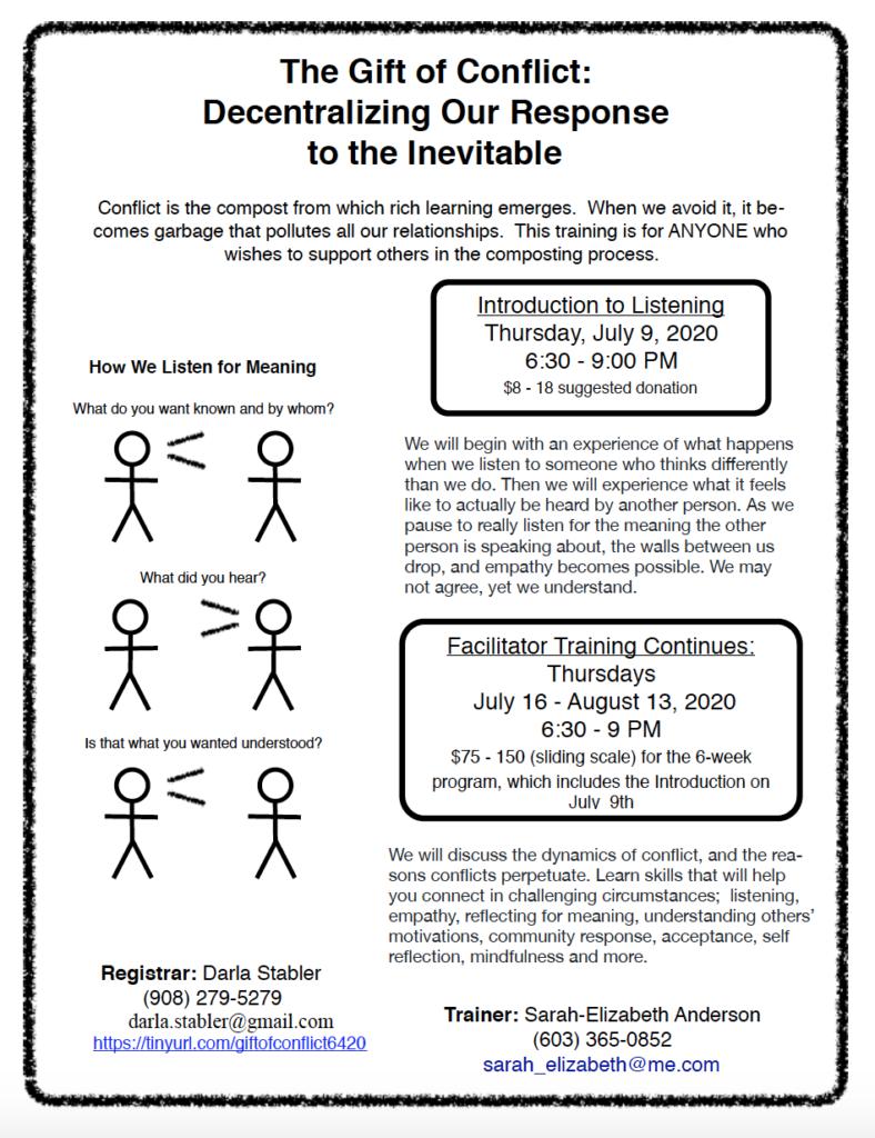 Flyer for conflict workshop.