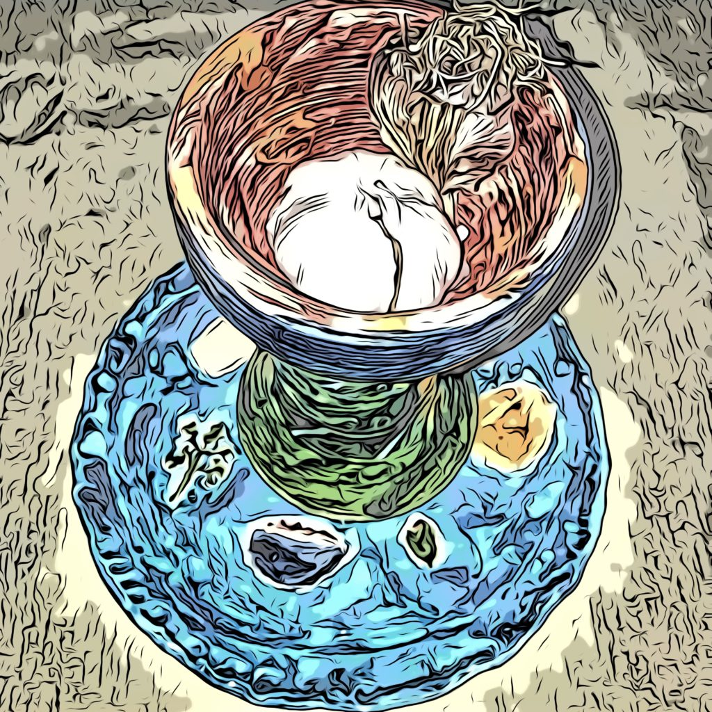 Artistic rendering of a blue seder plate with a kiddush cup holding a bulb of garlic.